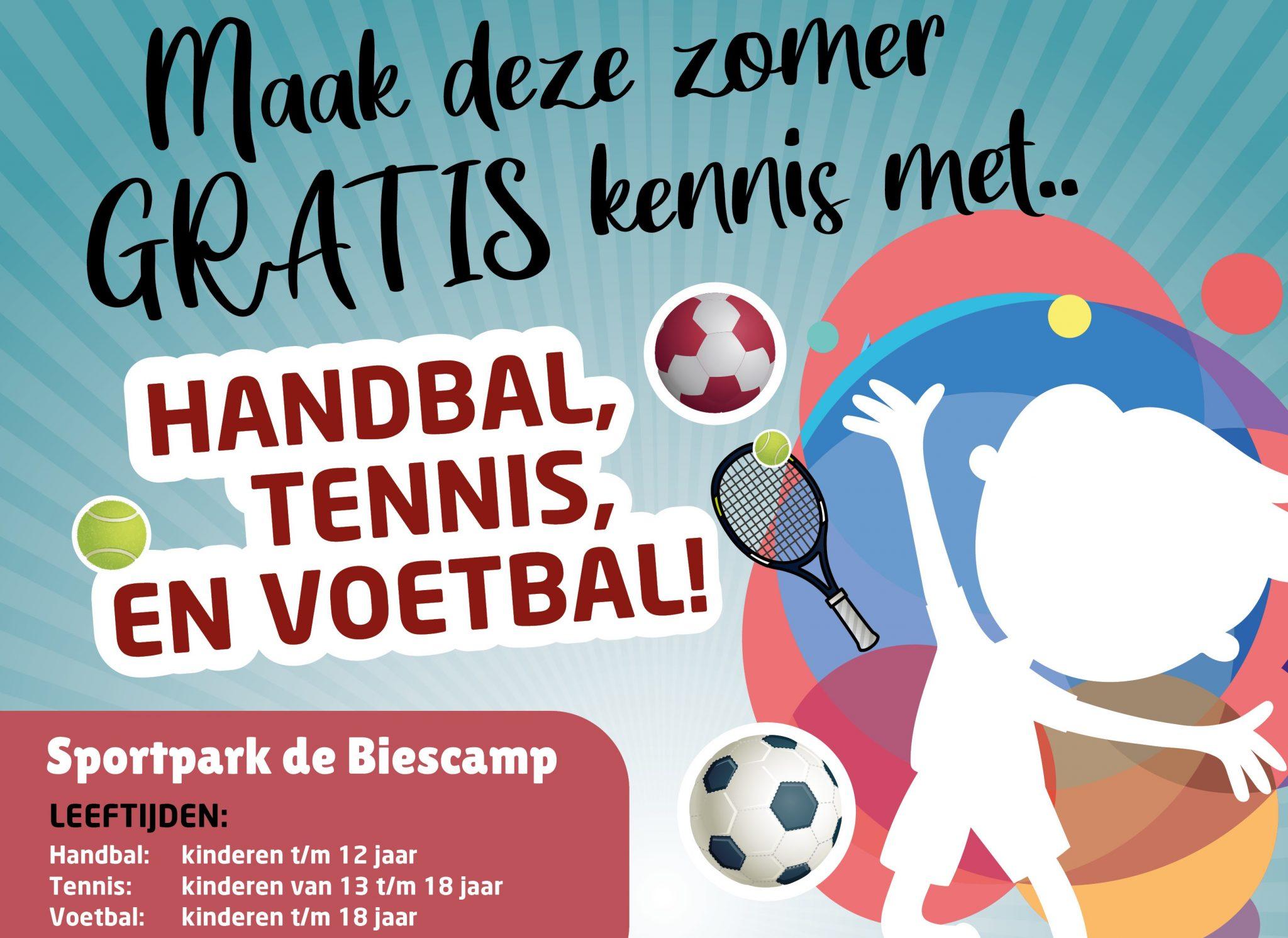 Maak eens kennis met handbal en tennis!